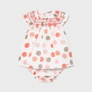 Vestido lino lunares recién nacida niña Art. 21-01826-011